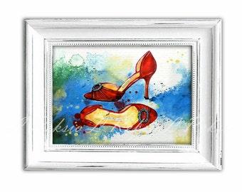 Fashion Art Print, Shoes Fashion Illustration, Shoe Art, Wall Art, Girly Wall Art, Manolo Blahnik Shoes Sketch, Fashion Painting LR-26