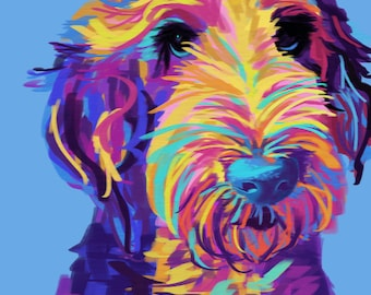 Sheepadoodle Art, Doodle Art - 16x20 Canvas; 9x12 Print - Wall Art