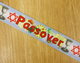 """7/8"""" Jewish Holiday Passover Seder Meal Dinner Printed Grosgrain Ribbon Bows HairBows Craft Supplies"""