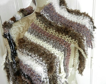 Brown Cream Hand Crocheted Scarf, Brown Crocheted Scarf, Brown Scarf, Cream Scarf, Grey Scarf, Hand Crocheted Scarf. Hand Crocheted Shawl