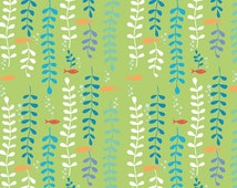 Under the Sea -  Kelp Forest Organic Fabric - Green (sold by the half yard)