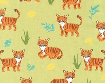 Wild Adventure Tigers Fabric - Green - sold by the 1/2 yard