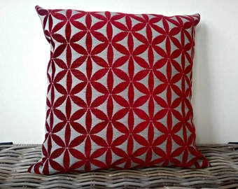 red and beige pillow cover - deep red taupe tapa cushion - red beige geometric pillow - red beige geometric cushion