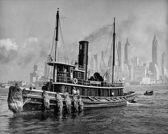 New York City Photo Photograph Print Wall Art Decor Restored Black White B W NYC Tugboat Boat Ship