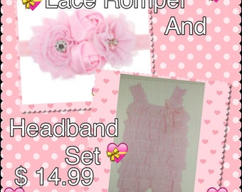 Romper*Infants Lace Romper*Toddler Lace Romper*Lace Set*Lace**Pink Lace Romper*Baby Lace Romper*Romper Set 14.99*Baby Romper*Lace Romper*