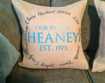 Our Family with names personalized Burlap Pillow Cover