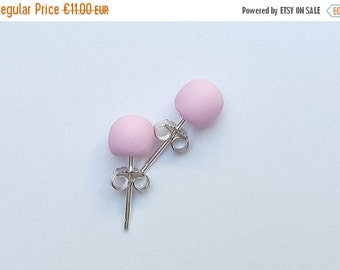 SALE 20% OFF ROSE; Stud Earrings; Polymer Clay and Sterilng Silver 925; Free Shipping