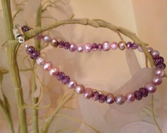 Purples and Pearls Bracelet
