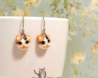 Calico Cat Earrings, Dangle & Drop Earrings, polymer clay, hand sculpted, hand painted with Acrylic colors.