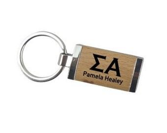 Sigma Alpha Silver/Wood Rectangle Keychain