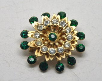 Vintage Clear and Green Rhinestone Brooch