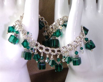 HOLIDAY Swarovski Green Crystal Sterling Charm style Bracelet, handmade bracelet, dangle bracelet, sparkly crystal bracelet in Emerald Green