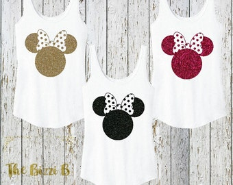 Minnie Mouse Inspired Sparkly Glitter Women's Tank Disney World Land Vacation