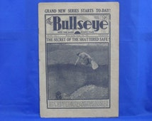 """Four copies of the vintage 1930s thriller magazine """"The Bullseye"""" . Great retro talking point"""