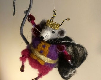 Needle felted mouse, Needle Felted Animals, Needle Felted Mice, Mouse King, Nutcracker, Hanger, Christmas ornament