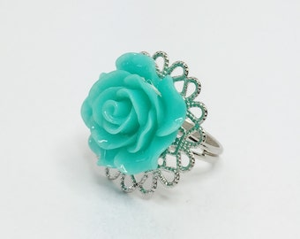 Teal Rose Ring Green Flower Ring Teal Adjustable Ring Teal Bridesmaid Gift Flower Girl Gift Teal Green Wedding Spring Wedding Filigree Ring