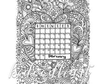 Instant Digital Download - February 2016 Calendar - Coloring Page