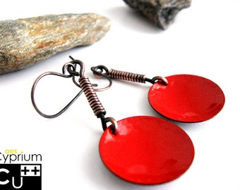 Handmade earrings/Dangle earrings/Copper earrings/Red enamel/Enamelled earrings/Enamel earrings