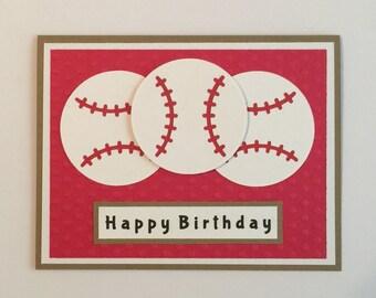 "Handmade ""Baseball"" Happy Birthday Card, Grand Slam, Baseball, Birthday"