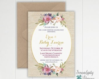 Rustic floral baby shower invitation, boho chic baby shower invitation, Floral Bridal Shower Invite, Wedding Shower