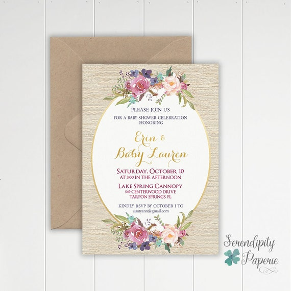 rustic floral baby shower invitation boho chic baby shower invitation