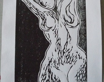 Woodcut female white black-limited edition female figure soul