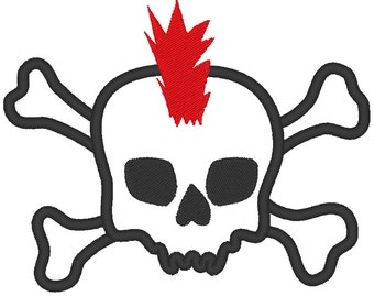 Punk Skull and Crossbones MACHINE EMBROIDERY / INSTANT Punk, Skull and Crossbones