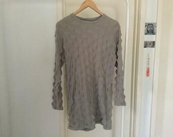 Origami 3D grey mini sweater dress