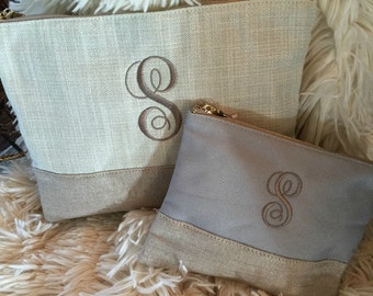 Small Linen Monogrammed Pouch