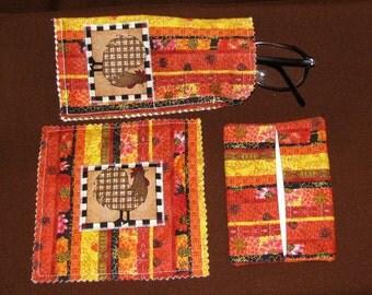 Fabric Desk Accessories - Mug Mat, Eyeglass Case, Tissue Holder - Fall Colors with Chicken - Gift Idea