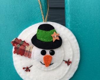 Snowman ornament, wool felt, Hanging Decoration, Christmas ornament