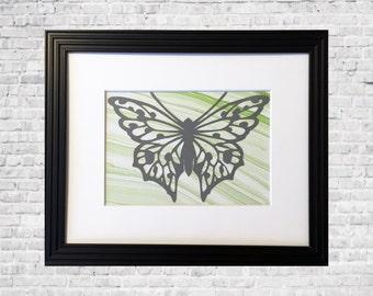 """Handcut Butterfly Wall Art,  Butterfly Home Decor, Butterfly Art, Calming Wall Decor, Gray and Green  - 8 x 10"""" Framed"""