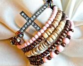 Turquoise Bracelet Set ~ Rhinestone Cross and Pink Turquoise Bracelet Set ~ Pink Turquoise Wrap Bracelet with Cross ~ Turquoise Wrap jewelry