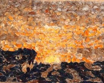 Vintage Modernist Oil Collage Painting Landscape