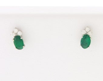 14kt Gold Natural Emerald & Diamond Earrings #EO353