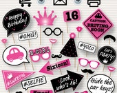 Sweet 16 Photo Booth Printable Props - Printable Sweet Sixteen Photobooth - 16th Birthday Party - Sweet 16 Party - Sweet Sixteen Pink - DIY