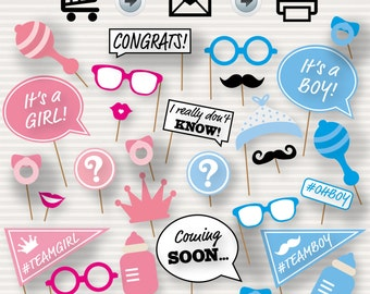 Gender Reveal Baby Shower Photo Booth Props - Baby Shower Printable Props -  Baby Shower Photo Booth - Is it a boy or a girl?