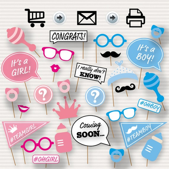 Gender Reveal Baby Shower Photo Booth Props Baby Shower