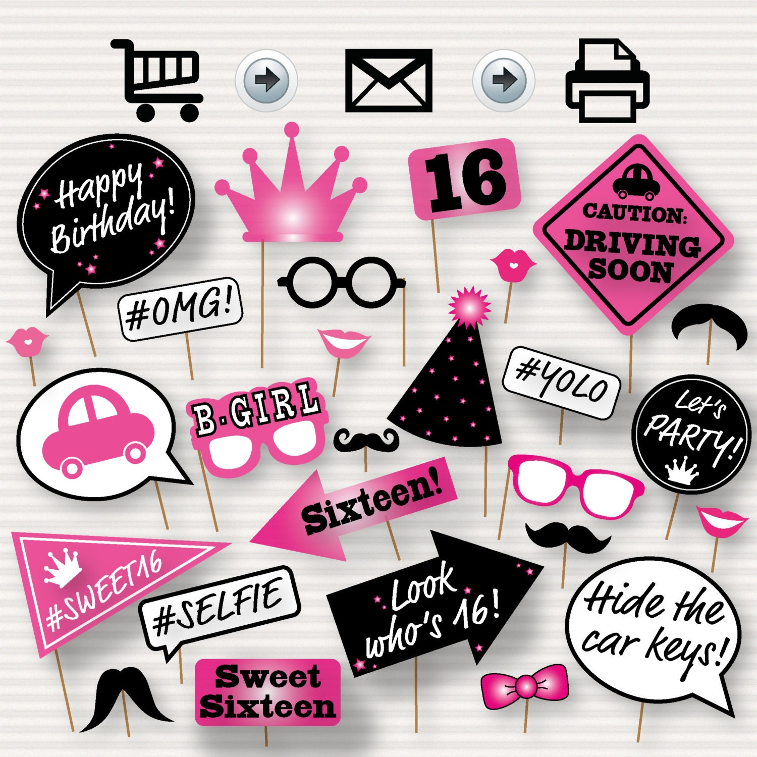 sweet 16 photo booth printable props printable sweet sixteen. Black Bedroom Furniture Sets. Home Design Ideas