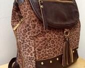 Leather backpack women, leather backpack brown, studded detail, suede bag, tassel