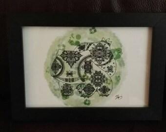 """Pokemon Mandala Bulbasaur 4x6"""" print"""