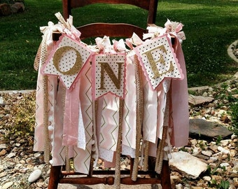 Pink and Gold 1st Birthday High Chair Banner