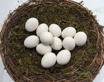 Speckled White ceramic bird eggs