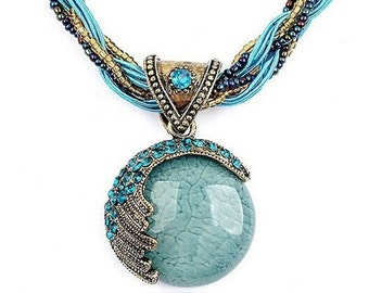Bohemia Fashion Chunky Statement Necklace Pendant in Blues
