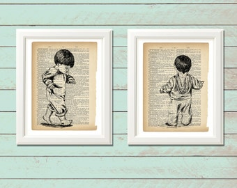 Dictionary art print, Set of two, Gemini art, Home decor, Dorm decor, Printable art, Kids print, Thanksgiving gift