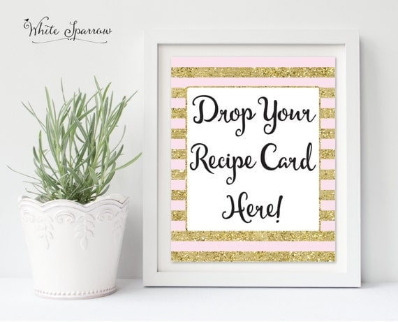 Drop Your Recipe Card Here Gold Bridal Shower Sign