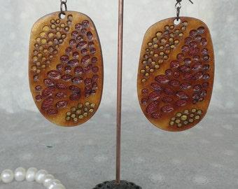 Beach Pebbles Handmade Polymer Clay Plywood Bohemian Statement Earrings | Polymer Clay Earrings | Statement Earrings