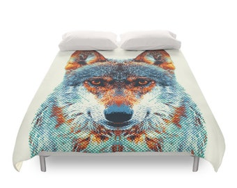Wolf Duvet Cover - Colorful Animals