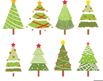Christmas Trees Digital Clipart