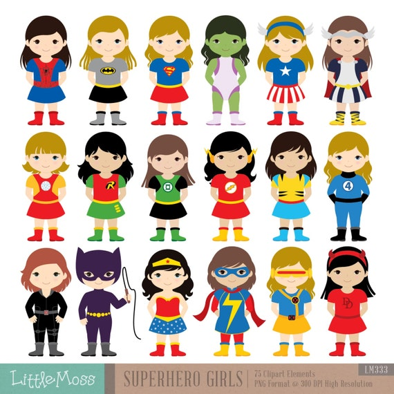 Superhero Art For Little Boys: 18 Girls Superhero Costumes Clipart Superheroes Clipart